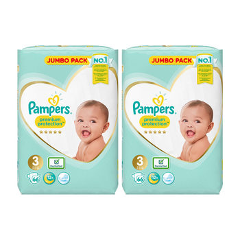 Pampers Premium Protection Nappies Size 3, 2 x 66 Jumbo Packs