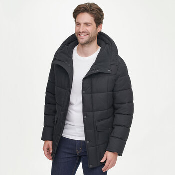 Andrew Marc Men's Textured Coat in Charcoal Black and 4 Sizes
