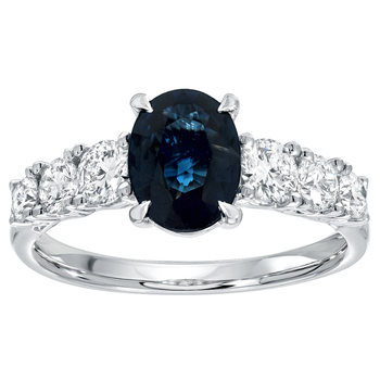 1.50ct Round Cut Blue Sapphire and 0.69ctw Diamond Ring, 18ct White Gold
