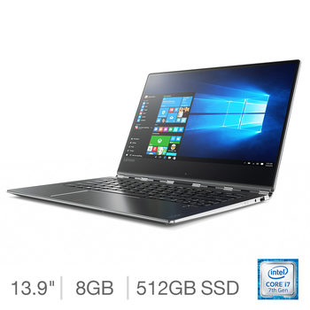 Lenovo Yoga 910, Intel Core i7, 8GB RAM, 512GB Solid State Drive, 13.9 Inch Convertible Notebook