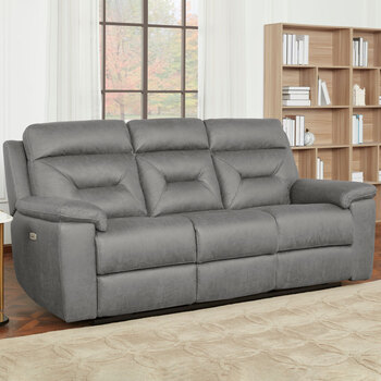 Kuka Justin Grey Fabric Power Reclining 3 Seater Sofa