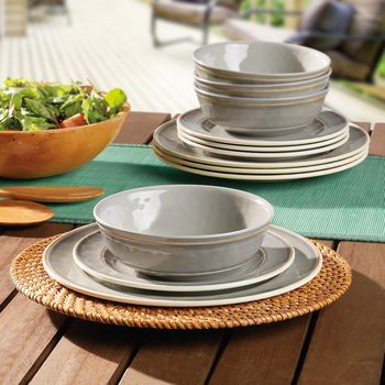Cambria Melamine 12 Piece Dinnerware Set in 2 Colours