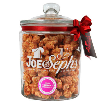 Joe & Seph's Caramel, White Chocolate & Strawberry Gourmet Popcorn Gift Jar, 300g
