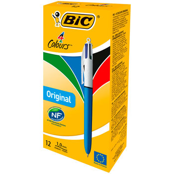 Bic 4-Colours Ballpoint Pen (Blue/Black/Red/Green) - Pack of 12