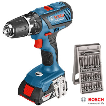 Bosch GSB 18 LI-2 Lithium-Ion Plus Professional Combi Drill with 4.0Ah Battery Pack, 25 Piece Bit Set and Carry Case