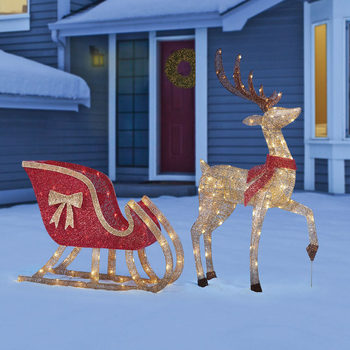 Glitter String LED Deer and Sleigh With 200 LED Lights