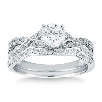 1.00ctw Round Brilliant Cut Diamond Wedding Ring Set, Platinum