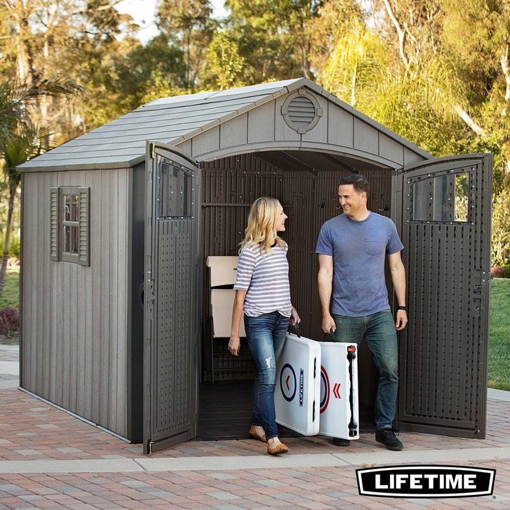 Lifetime 8ft X 10ft 24 X 30m Simulated Wood Look Storage Shed With 1 Window And 3 Window Panes Per Door Costco Uk