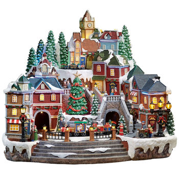 14.5 Inch (37 cm) Animated LED Winter Village Scene with Rotating Train and Music