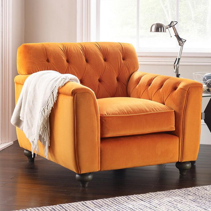 Avante Button Back Velvet Armchair, Sunset Orange