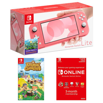 Nintendo Switch Lite with Animal Crossing: New Horizons, Nintendo Switch Online 3 Month Pass in Coral