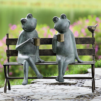 "20"" (48cm) Pair of Frogs On a Bench Sculpture"