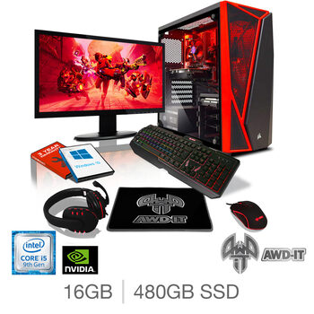 "AWD-IT Fury 5 Plus, Intel Core i5, 16GB RAM, 480GB SSD, NVIDIA GTX 1660 Super, Gaming Desktop PC with 23.6"" Full HD LED Widescreen Monitor, RGB Gaming Keyboard & Mouse Plus Headset & Mouse Pad"