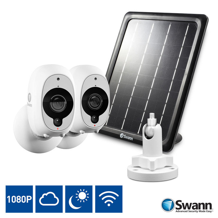 1519c4dcd7a Swann 2 Pack 1080p Full HD Wireless Security Camera with True Detect    Solar Panel   Outdoor Mount