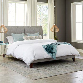Northridge Home Grey Upholstered Bed Frame, Double