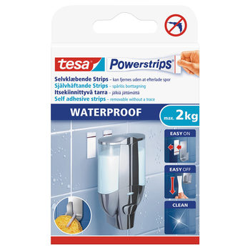 Tesa Powerstrips® Waterproof Double-sided Removable Adhesive Strips, 6 Strips - 2kg