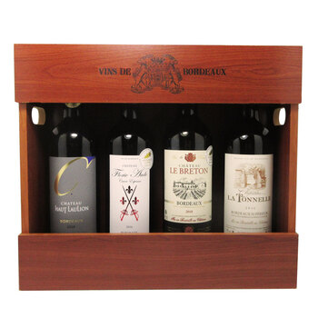 Bordeaux Selection Wooden Gift Box, 4 x 75cl