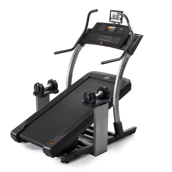 Installed Nordic Track x9i Incline Treadmill with x2 Dumbbells