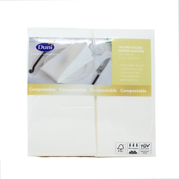 Duni Soft Luxury 30 x 40 cm Linen Feel Pre-Folded White Napkins, 100 Pack
