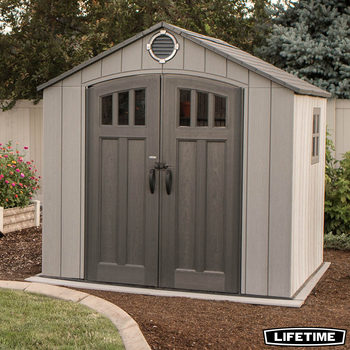 "Lifetime 8ft x 7ft 5"" (2.4 x 2.3m) Simulated Wood Resin Storage Shed with 1 Ridge Skylight 1 Side Window and 3 Window Panes per Door"