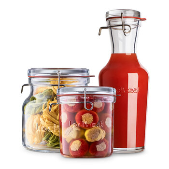 Luigi Bormioli Lock-Eat Glass Jars, 3 Piece Set with Lids