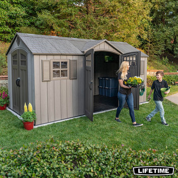 Lifetime 15ft x 8ft (4.6 x 2.4m) Dual Entry Storage Shed With Windows