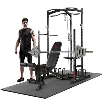 Marcy RS5000 Power Cage and Weight Bench with 140kg Olympic Weight Set and Floor Matting
