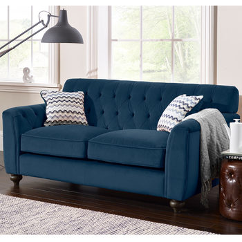 Avante Button Back 2 Seater Velvet Sofa with 2 Accent Pillows, Indigo Blue