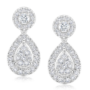 1.00ctw Round Brilliant Cut Diamond Earrings, 18ct White Gold