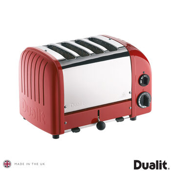 Dualit 4 Slot Classic Toaster With Sandwich Cage, Red 40591