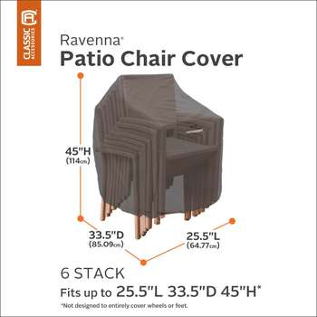 Classic Accessories Ravenna Stackable Chair Cover (Fits up to 6 Chairs)