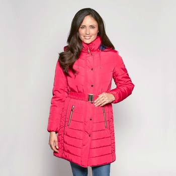 David Barry Women's Belted and Hooded Quilted Coat in 7 sizes and 7 Colours