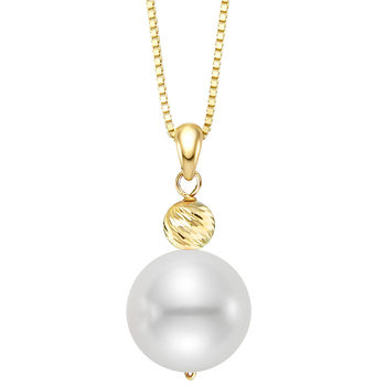 9.5-10mm Cultured Freshwater White Pearl Pendant, 18ct Yellow Gold