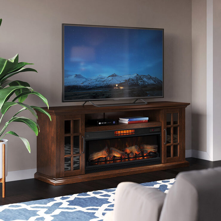 Tresanti Mayson Media Mantel With, Black Media Storage Tv Stand And Electric Fireplace