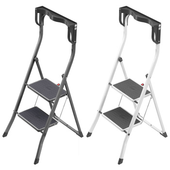 Hailo Safety Plus 2 Tread Domestic Folding Step Ladder in 2 Colours