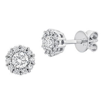 0.45ctw Round Brilliant Cut Diamond Earrings, 18ct White Gold