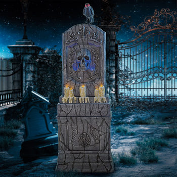 Halloween 5ft (153cm) Aged Cemetery Tombstone With Raven, LED Lights And Sound