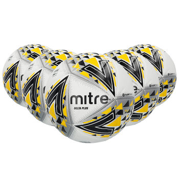 Mitre Delta Plus Mid-Level Professional FIFA Approved Football (Size 5) - Pack of 5 With Carry Bag and Pump