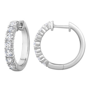 1.20ctw Round Brilliant Cut Diamond Hoop Earrings, 14ct White Gold