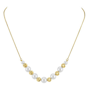 8-8.5mm Cultured Freshwater White Pearl Necklace, 18ct Yellow Gold