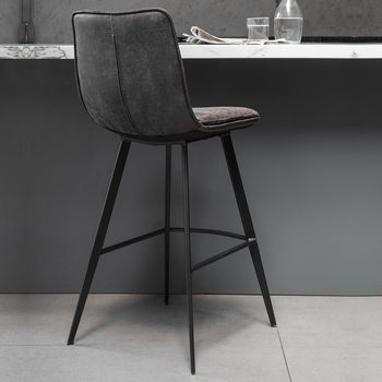 Gallery Palmer Grey Faux Leather Bar Stool, 2 Pack