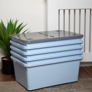 Wham 45L Wheeled Plastic Storage Box, in Cool Blue - 5 Pack