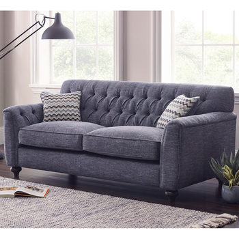 Avante Button Back 2 Seater Fabric Sofa with 2 Accent Pillows, Thunderstorm Blue