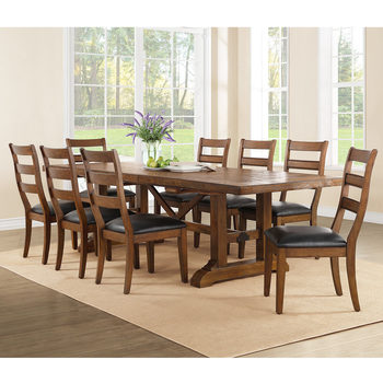 Bayside Furnishings Washington Extending Dining Room Table + 8 Chairs