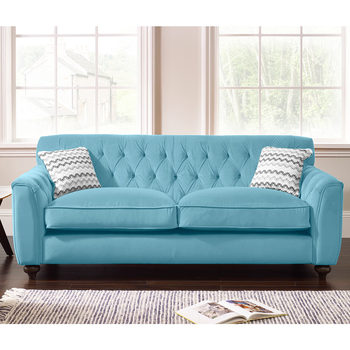 Avante Button Back 3 Seater Velvet Sofa with 2 Accent Pillows in 4 Colours