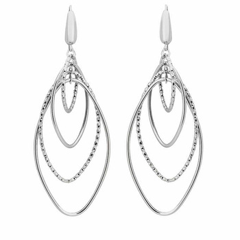 14ct White Gold 4 Row Marquise Dangle Earrings