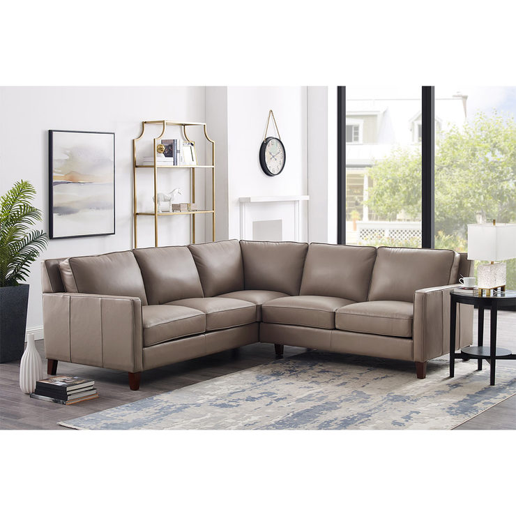 West Park Taupe Leather Corner Sofa | Costco UK