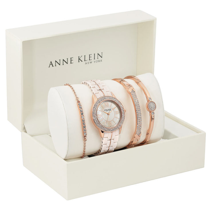 e2a6d25dd Anne Klein New York Swarovski Crystal Accented Ladies Rose Gold Tone Watch  and Bracelet Set