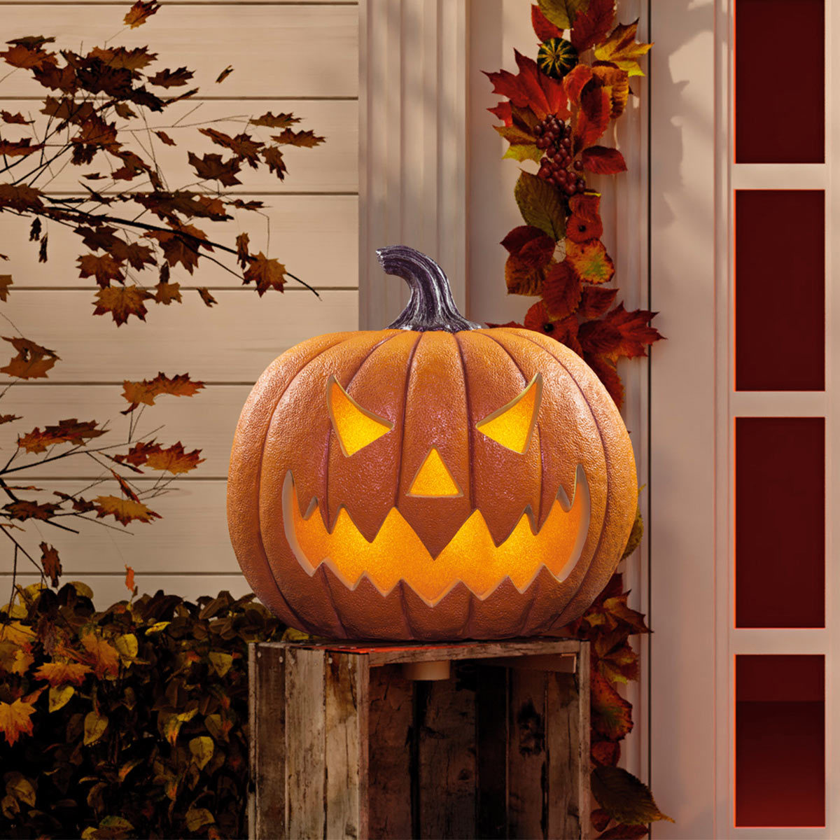 Halloween 20 50 8cm Squatty Jack O Lantern Pumpkin With Led Flickering Lights And Sounds Costco Uk