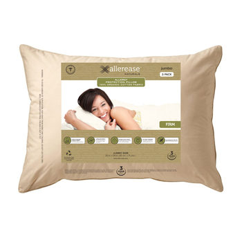 Allerease Naturals Allergy Protection Pillow with 100% Organic Cotton Cover, 2 Pack